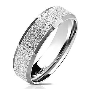 64 (20.4) Bungsa© silberner RING für Männer & Damen - sandgestrahlter, silberner Herren-Ring aus EDELSTAHL mit abgerundeten Kanten - Edelstahlring geeignet als Verlobungs-Ringe & Freundschafts-Ringe
