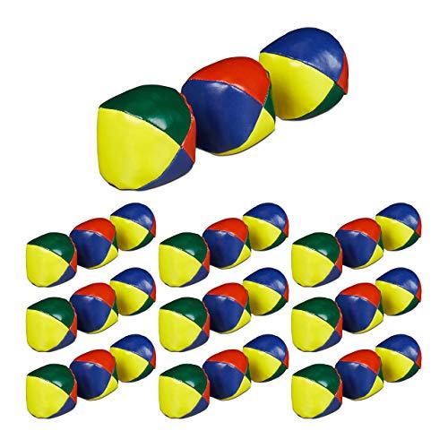 Relaxdays 30 x Jonglierbälle, Profis & Anfänger, Juggling Balls weich, Kinder & Erwachsene, Jonglierset, Juggle Balls Ø 6 cm, bunt