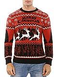 Aibrou Herren Weihnachtspullover Winter Lang Strickpulli Pullover Rundhalsausschnitt Sweater mit Rentier Schneeflocken Muster Strickpullover für Weihnachten