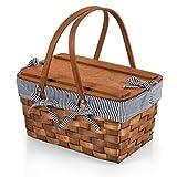 Picnic Time - A Picnic Time Brand 350-01-211-000-0 Kansas Handwoven Wood Picnic Baskets, Navy Blue & White Stripe