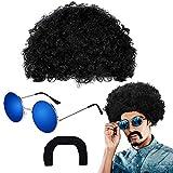 MMTX Peluca Afro Bigote Y Gafas de Sol Redondas para Adultos - Accesorio de Fiesta de los 70