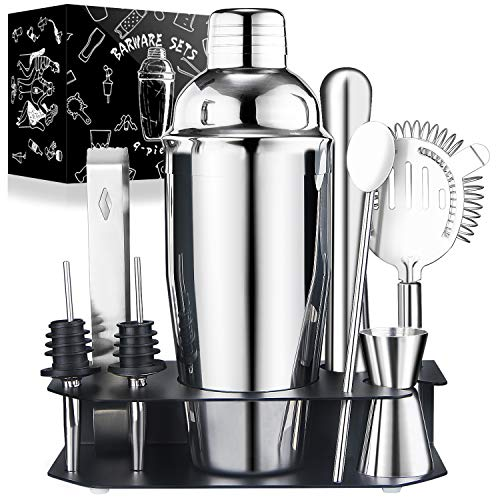 24oz Cocktail Shaker Set with Stand for Home Includes Martini Mixer, Jigger, Mixing Spoon, Liquor Pourers, Muddler, Strainer and Ice Tongs Professional Stainless Steel Bartender Kit