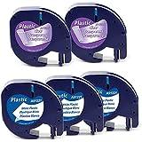Aken - Cinta de Etiquetas compatible para usar en lugar de Dymo Letratag Cinta Plastico 12mm x 4m negro sobre blanco, transparente, para LT-100h LT-100T LT-110T XR, Plastic Black on White Tape