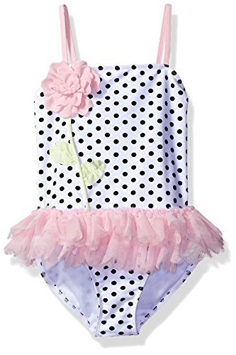 Kate Mack Girls' Toddler Polka Rose Skirted Tank Swimsuit, White/Black, 2T