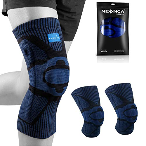 NEENCA Knee Brace,Knee Compression Sleeve Support with Patella Gel Pad & Side Spring Stabilizers,Medical Grade Knee Protector for Running,Meniscus Tear,Arthritis,Joint Pain Relief,ACL,Injury Recovery (A 053-Dark Blue(pack of 2), Small)