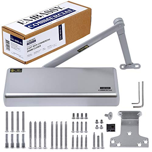 Door Closer Commercial Adjustable 1-6 Power Delayed Close Backcheck Latch Speed Powerful Cast Iron Construction Door Closer Tested to 10 Million Cycles Aluminum Finish EDC8016