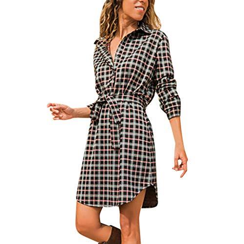 FRAUIT dames plaid print lange mouwen V-hals jurk knielange elegante blouse-jurk hemdjurk shirt jurk top jurk maxi-jurk mode elegant wondermooi streetwear S-2XL