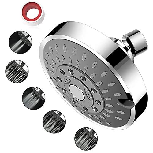 YOMYM Cabezal de ducha Lluvia de alta presión Cabezal de ducha fijo Lluvia 5 configuraciones con rótula giratoria de metal ajustable - Plata
