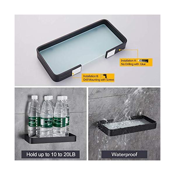 Hoomtaook Accesorios baño sin Taladro Estanteria Ducha Rectangular de Vidrio Templado Cesta de Ducha Organizador de baño…