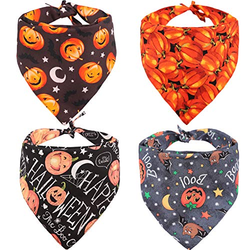 KZHAREEN 4 PCS/Pack Halloween Dog Bandana Pumpkin Reversible Triangle Bibs Scarf Accessories for Dogs Cats Pets Large