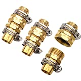 3Sets Brass 3/4' Garden Hose Mender End Repair Male Female Connector with Stainless Clamp