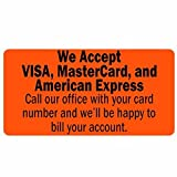 We Accept Visa, MasterCard, and American Express Labels/Stickers - 500 Labels Per roll