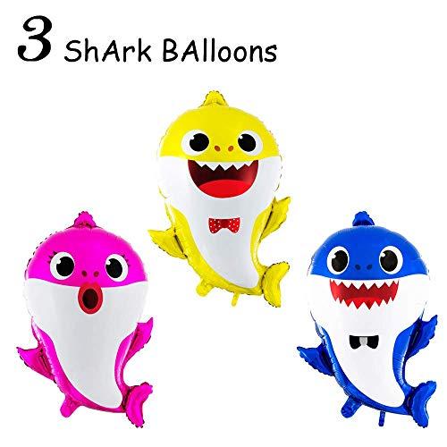 Micher Baby Cute Shark Party Supplies Luftballons - Geburtstag Dekorationen Kinder Geburtstag DOO DOO Party Ballon Set - 3-TLG