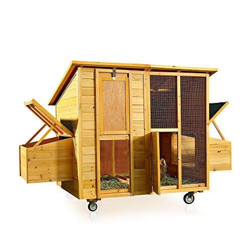 Melko Hühnerstall für 4 Hühner rollbar Hühnerhaus 214x125x108cm Entenhaus aus Holz mit 2 Nistkästen, wetterfestes Dach