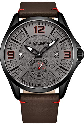 Stuhrling Original Mens Leather Watch -Aviation Watch, Quick-Set Day-Date, Leather Band with Steel Rivets, Men Watch Collection (Black)