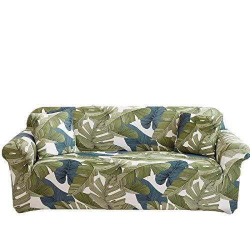PPOS patrón de Hojas Fundas para sofá Fundas elásticas para sofá con Todo Incluido para sofá en Forma de L Silla de Dos plazas Funda para sofá Estilo L A1 3 Asientos 190-230cm-1pc
