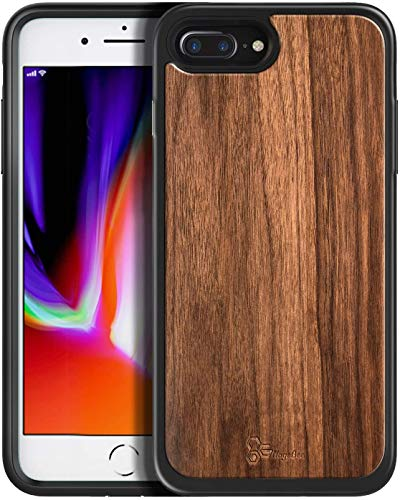 E-Began Case for iPhone 8 Plus/7 Plus/6 Plus/6S Plus, [Real Natural Walnut Wood, Every Piece is Unique], Shockproof Protective Rugged Phone Case -Wood
