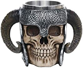 Gift2Smile Viking Ram Horned Pit Lord Warrior Skull With Battle Helmet Beer Stein Tankard Coffee Cup Mug. Superior Gift