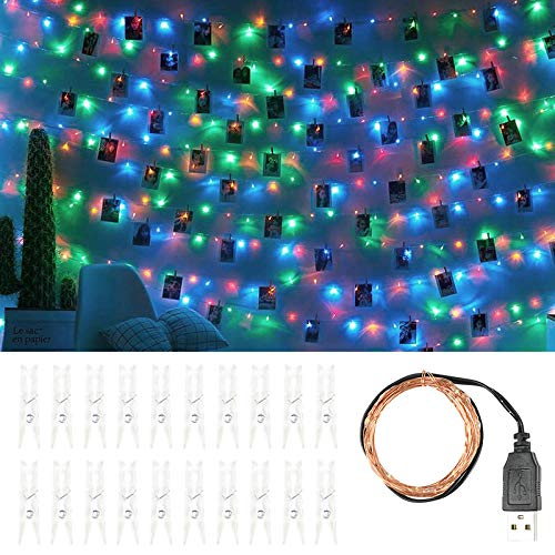 Guirnalda de luces de Navidad con clip de 2 m y 20 luces LED para interiores al aire libre, dormitorio, hogar, boda, cumpleaños, año nuevo, decoración de guirnaldas coloridas_USB_Plug