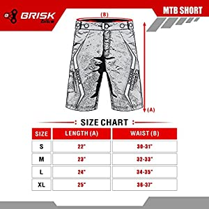 Brisk Bike MTB Cycling Shorts Pantalones cortos, Hombre, Multicolor (Black/Red), S