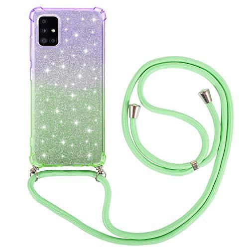 Funda con Cuerda para Samsung Galaxy A51 5G Carcasa Suave TPU Bicolor Suave Silicona Case con Correa Colgante Ajustable Collar Correa de Cuello Cadena Cordón Glitter Trasero Caso Verde púrpura