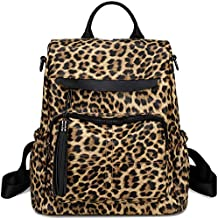 Womens Backpack Purse Fashion PU Leather Casual Backpack Shoulder Bag Travel Daypack (Leopard-Brown)