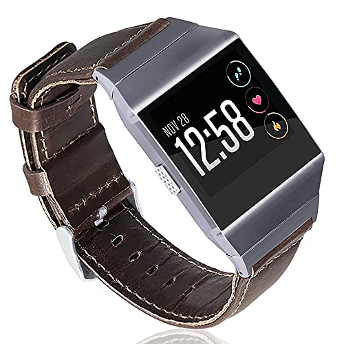 AISPORTS Compatible con Fitbit Ionic Correa de piel para hombres y mujeres, suave, vintage, retro, transpirable, correa de repuesto ajustable para reloj inteligente Fitbit Ionic