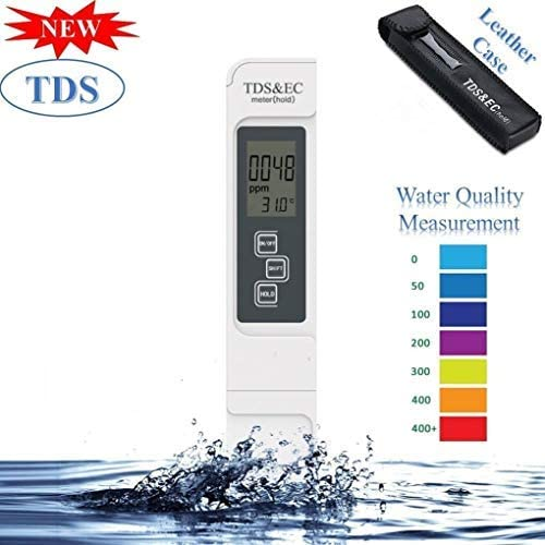 Cartshopper Digital Water TDS EC and Temperature (3 in 1) Meter, Water Quality Purity Tester, ATC Function, 1ppm Reso...