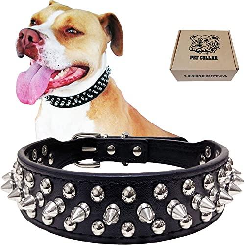 teemerryca - Collar de perro de piel sintética resistente con tachuelas