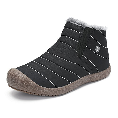 SAGUARO® Herren Damen Winterschuhe Warm Gefütterte Boots Stiefelette Outdoor Schneestiefel Winter Schuhe,High top schwarz,39 EU