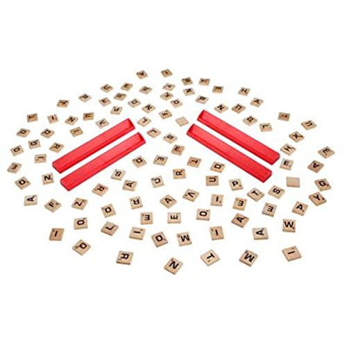 SCRABBLE Board Game Replacement Pieces - 100 wood letter tiles and 4 plastic tile racks