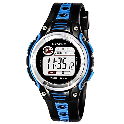 jieGorge Kid 's Watch, Bicolor, Pantalla Grande, Estudiante, niños, Deportes, Impermeable, electrónico, Reloj, Joyas y Relojes (Azul)