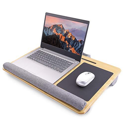 Longko Escritorio Portátilpara Laptop, Bandeja para Ordenador Portátil con Cojín Alfombrilla para Ratón Integrada y Soporte para Tableta Se Adapta a portátiles de hasta 15 Pulgadas