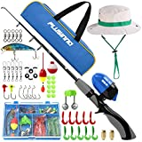 PLUSINNO Kids Fishing Pole,Portable Telescopic Fishing Rod and Reel Full Kits, Spincast Youth Fishing Pole Fishing Gear for Kids, Boys (Grey Handle with Bag&Hat, 150CM 59.05IN)
