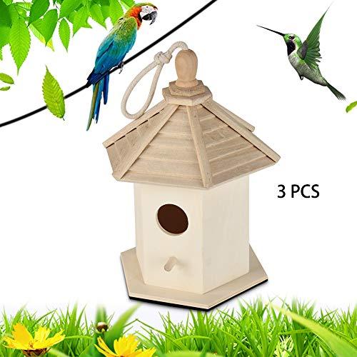 ZXL Vogelkooien, Nests, Houten Vogelhuisje, Hangende Nest Huis Vogel, Creatieve Houten Vogelhuisjes te schilderen, Charmante Natuurlijke Home Decor. 3 stuks.