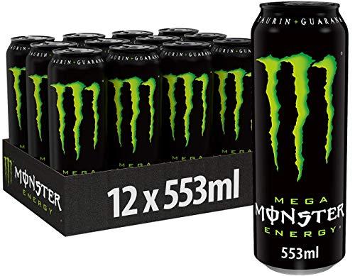 Monster Energy Mega mit klassischem Monster Geschmack - für mehr Energie mit extra viel Inhalt, Energy Drink Palette, wiederverschließbare EINWEG Dose (12 x 553 ml)