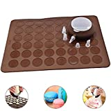 Perfetsell Macaron Pad Silicone Baking Mat Mold Set 48 Holes Capacity Non Stick Cake Bakeware Kit Brown Baking Sheet Moulds with Decorating Pen and 4 Nozzles for Macarons, Cupcake, Dessert