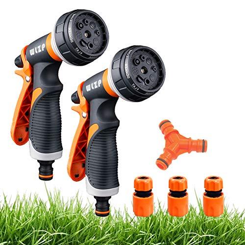2 Pack Pistola de riego, Pistola de agua de jardín con 8 modos de ajustable pulverización - Rociador de mano de alta presión para regar el césped, lavado de autos, baño de mascotas, limpieza d