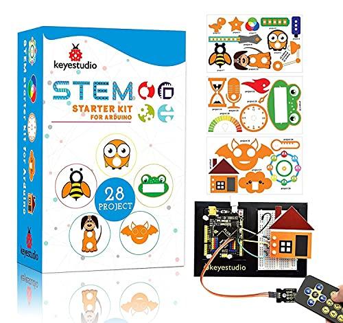 KEYESTUDIO Project Starter Kit for Arduino with Cartoon Card, Plus R3 Board, 9v Battery, HC-SR04 Ultrasonic, PIR Motion Sensor, Breadboard, LED Matrix, I2C LCD, Stepper Motor, DHT11 Sensor, etc