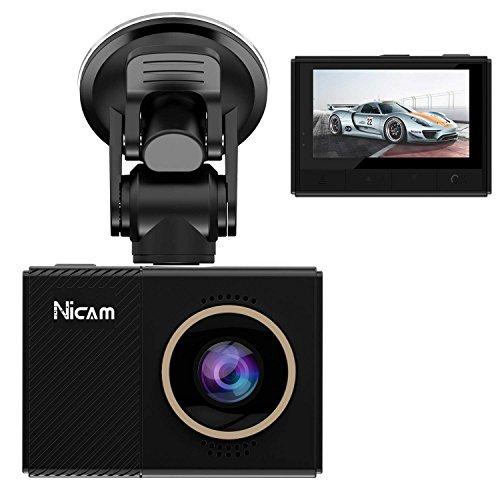 Nicam 1080P autocamera - 2,45 inch LCD-scherm FHD auto dashcam met super HD nachtzicht auto DVR, 150 graden groothoek WDR-lens, wifi, HDR, G-sensor, loopopname