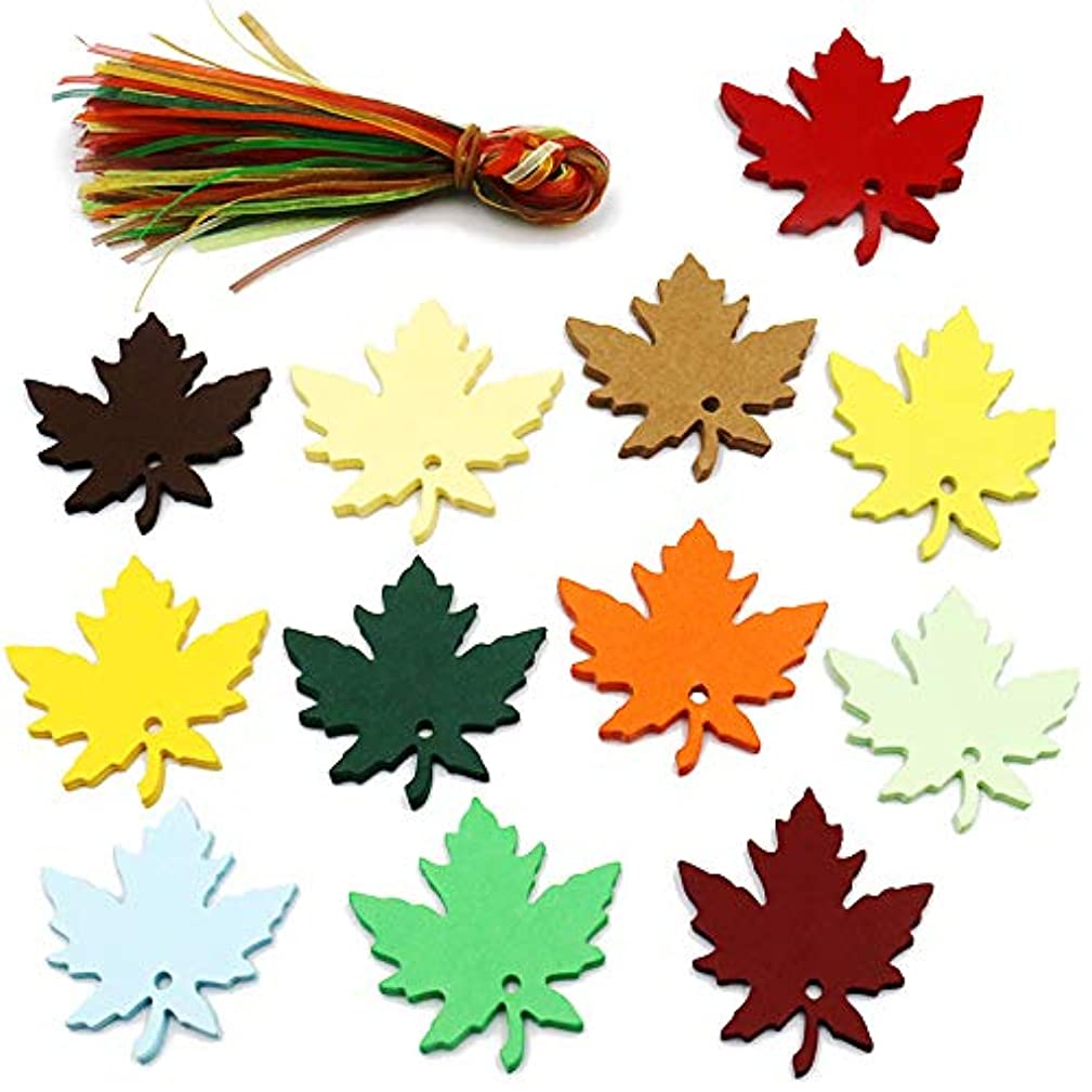 120 PCS Paper Gift Tags with Organza Ribbons,Colorful Maple Leaves Craft Hang Tags for Wedding Thanksgiving Christmas Party Favor