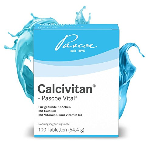 Pascoe® Calcivitan-Pascoe Vital: für Knochen mit Calcium & den Vitaminen C und D3 - laktosefrei, glutenfrei, zuckerfrei - hergestellt in Deutschland - 100 Tabletten