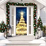 ANPHSIN Self-Adhesive Christmas 3D Door Decal Sticker- 30 x 80 Inches Gold Sparkling Christmas Tree Door Wallpaper Removable Vinyl Stickers for Indoor Outdoor Christmas Party Holiday Door Decoration