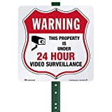 SmartSign Warning Property Under 24 Hour Video Surveillance Sign with Stake 3' Tall, Square 3M Metal Sign for Lawn, Yard, Outdoors | Reflective Aluminum