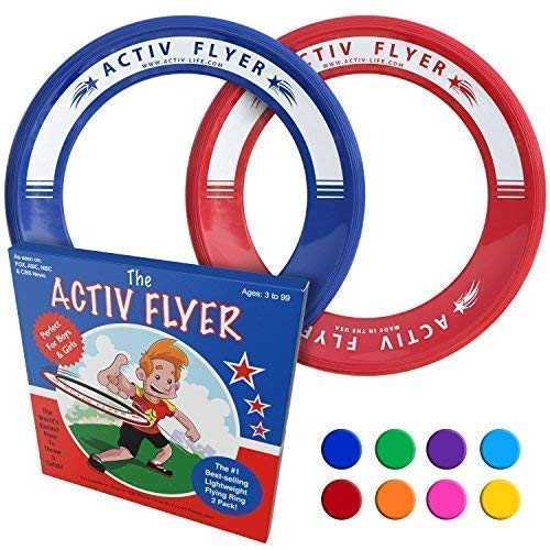 Activ Life Best Kid's Frisbee Rings [Red/Blue] Top Birthday Gifts Presents Xmas Stocking Stuffers - Cool Toys for Year Old Boys Girls and Fun Family Outdoor Games Love Hot Bday & Child X-mas Idea