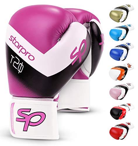 Starpro T20 Boxhandschuhe | PU Leder | Schwarz Weiß Rosa und Blau | Für Training und Sparring in Muay Thai Kickboxen Fitness und Boxen Männer & Frauen | 8oz 10oz 12oz 14oz 16oz