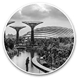 Impresionantes pegatinas de vinilo (juego de 2) 20 cm (bw) – Garden Bay Singapur Asia Divertidas calcomanías para portátiles, tabletas, equipaje, reserva de chatarras, neveras, regalo genial #35696