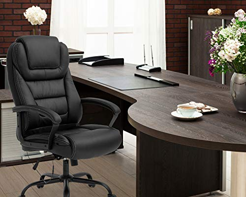 Big and Tall 500lbs Wide Seat Ergonomic Desk Chair with Lumbar Support Arms Headrest Massage Office Chair Rolling Swivel PU Leather Task Computer Chair for Adults,Black