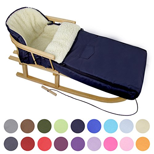 BAMBINIWELT Kombi-Angebot Holz-Schlitten mit Rückenlehne & Zugseil + universaler Winterfußsack (108cm), auch geeignet für Babyschale, Kinderwagen, Buggy, aus Wolle Uni (Marineblau)