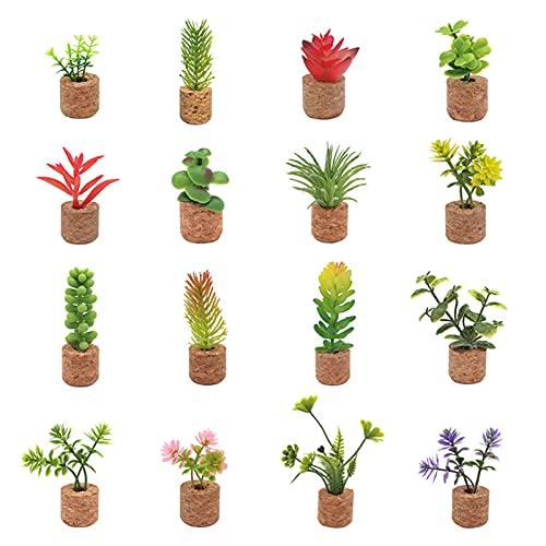 Eastdall Potinho De Suculentas Falsas,16 peças de mini-plantas suculentas artificiais magnéticos imãs de geladeira minúsculos conjuntos de potes de suculentas falsas